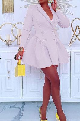 White Wholesale Long Sleeve Lapel Neck Double-Breasted Collect Waist Plain Color Dress CM2160-2