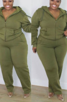 Army Green New Big Yards Long Sleeve Zip Front Coat Trousers Solid Color Sports Sets HG150-4