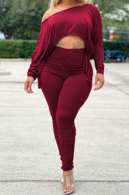 Wine Red Wholesale Casual Long Sleeve Oblique Shoulder Loose Tops High Waist Ruffle Bodycon Pants Solid Color Sets QSS51051-3