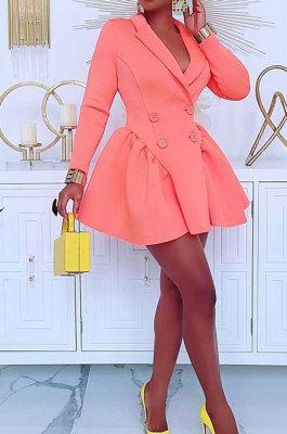 Pink Wholesale Long Sleeve Lapel Neck Double-Breasted Collect Waist Plain Color Dress CM2160-3