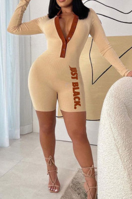 Beige Fashion Ribber Letter Printing Long Sleeve Notched Neck Collect Waist Bodycon Romper Shorts SDE29130-2