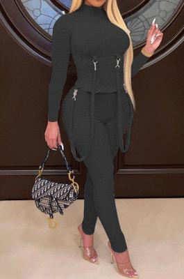 Black Women Pure Color Long Sleeve Irregular Bodycon Pants ANK06030-2