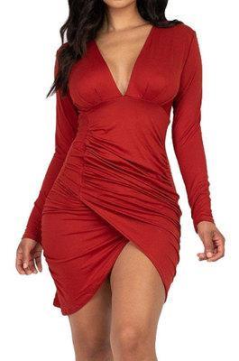 Red Night Club Sexy Long Sleeve V Neck Collect Waist Slim Fitting Ruffle Hip Dress SMR10155-1