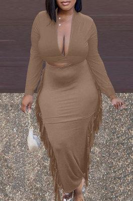 Camel New Casual Long Sleeve Deep V Neck Crop Tops Cute Tassel Hip Skirts Sets S66316-5