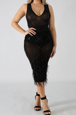 Black Women Mesh Spaghetti Hot Drilling Chicken Feather Perspectivity Sexy V Collar Sleeveless Mid Dress CCY8105-2