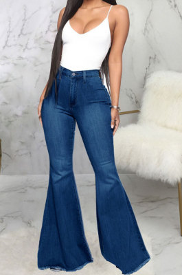 Dark Blue Fashion High Waist Elastic Jean Flare Pants SMR2599-2