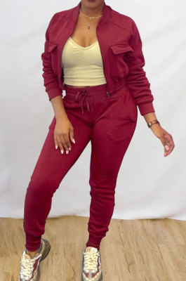 Wine Red Simple Women's Long Sleeve Zip Front Coat Trousers Solid Color Sports Sets MTY6609-3