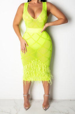 Neon Green Women Mesh Spaghetti Hot Drilling Chicken Feather Perspectivity Sexy V Collar Sleeveless Mid Dress CCY8105-3