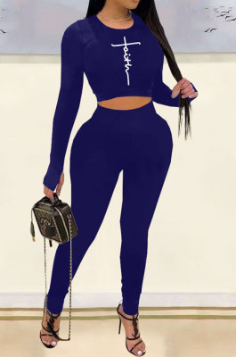 Dark Blue Woemn Solid Color Long Sleeve Printing Tight Pants Sets AMN8031-4