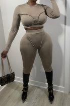 Khaki Women Fashion Bodycon Long Sleeve Round Collar Solid Color Pants Sets AA5284-2