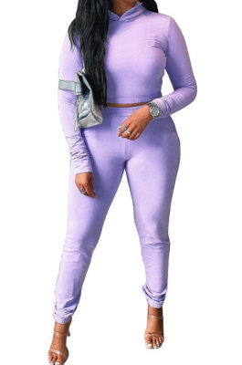 Purple Women Pure Color Long Sleeve Hoodede Tops Bodycon Pants Sets ANK06029-1