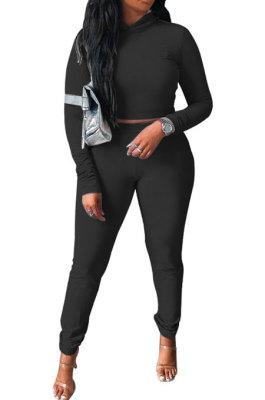 Black Women Pure Color Long Sleeve Hoodede Tops Bodycon Pants Sets ANK06029-3