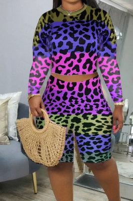 Pink Blue Leopard Printing Long Sleeve O Neck High Waist Shorts Fashion Two-Piece XMC6053-3