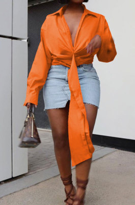 Orange Club Ruffle Long Sleeve Deep V Neck Solid Color Casual Shirts SMD82085-5