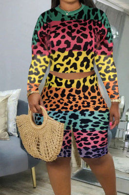 Rose Yellow Leopard Printing Long Sleeve O Neck High Waist Shorts Fashion Two-Piece XMC6053-2