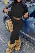 Black Euramerican Women Fashion Pure Color Velvet Hoodde Fleece Pants Sets AA5285-4