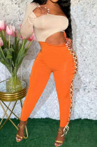 Orange Sexy Solid Color Single Sleeve Dew Waist Tied Tight Mid Waist Bodycon Jumpsuits ED1069