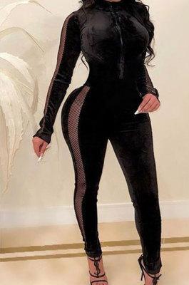 Black Women Korea Velvet Thick Sexy Gridding Spliced High Waist Bodycon Jumpsuits BYQ1039-1