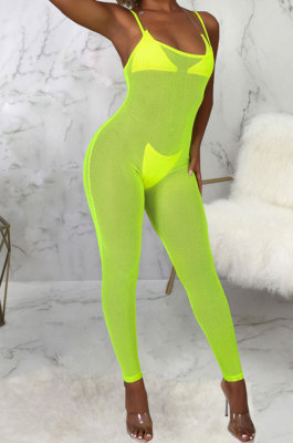 Green Sexy Mesh See-Through Condole Belt Slim Fitting Jumpsuits SMR10540-1