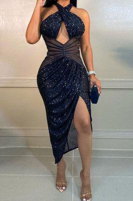 Dark Blue Women Sexy Party Sequins Irregular Halter Neck Mid Waist Hollow Out Tight Midi Dress CCY9290-3