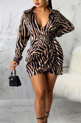Black Gold Night Club Digital Printing Long Sleeve V Neck Slim Fitting Hip Dress SMR10585-2