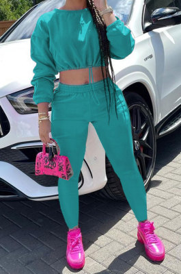 Lake Green Women Long Sleeve Round Collar Solid Color Fashion Dew Waist Drawsting Pants Sets BYQ1035-3