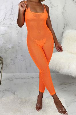 Orange Sexy Mesh See-Through Condole Belt Slim Fitting Jumpsuits SMR10540-3