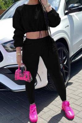 Black Women Long Sleeve Round Collar Solid Color Fashion Dew Waist Drawsting Pants Sets BYQ1035-2