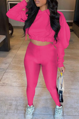 Rose Red Women Pure Color Long Sleeve Fashion Sexy Dew Waist Hooded Tops Sport Pants Sets ED8534-3