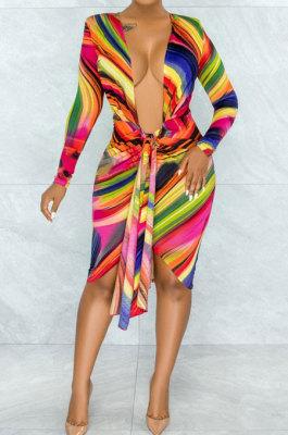 Multicolor Printing Long Sleeve Deep V Neck Bandage Sexy Hip Dress YNS1669