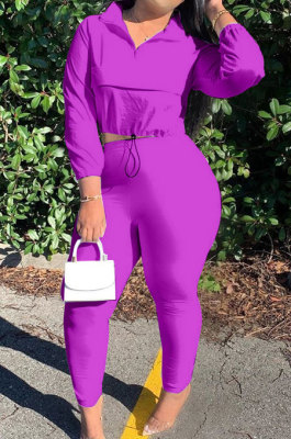Purple Casual New Long Sleeve Zipeer Loose Tops Skinny Pants Plain Color Sets MOM8029-8