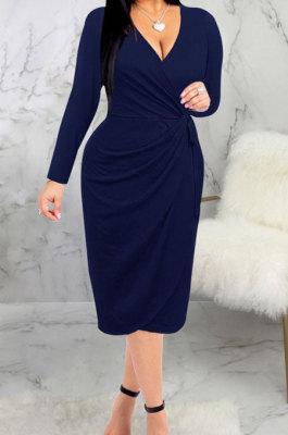 Dark Blue High Quality Long Sleeve V Neck Slim Fitting Plain Color Business Dress SMR10276-3