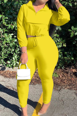 Yellow Casual New Long Sleeve Zipeer Loose Tops Skinny Pants Plain Color Sets MOM8029-5