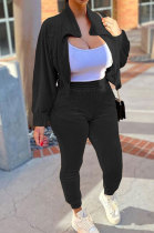 Black High Quality Velvet Batwing Sleeve Zip Crop Tops Trousers Plain Color Sport Sets WY6844-3