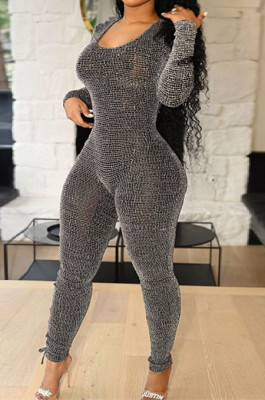 Plus Size Side Cut Out Bodycon Jumpsuit in Gray