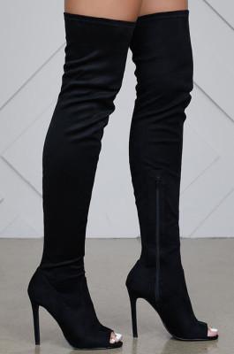 Thigh High Peep Toe Boots