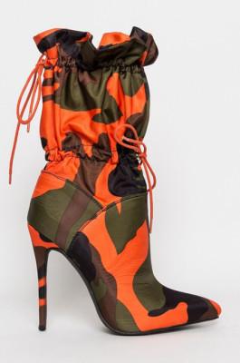 Camo Drawstring Boots in Orange