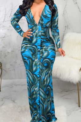 Blue Digital Printing Long Sleeve V Neck Collect Waist Slim Fitting Long Dress SMR10590-2