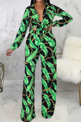 Green Sexy New Printing Long Sleeve Bandage Crop Tops Wlide Leg Pants Sets SMR10673-1