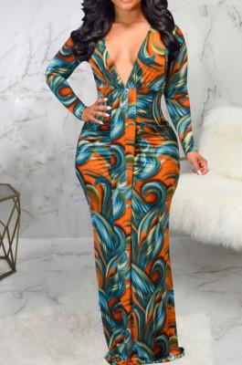 Orange Digital Printing Long Sleeve V Neck Collect Waist Slim Fitting Long Dress SMR10590-3