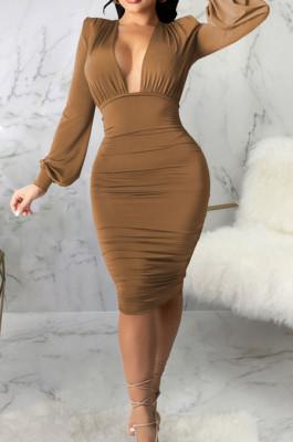 Brown Fashion New Long Sleeve Deep V Neck Collect Waist Bodycon Dress SMR10587-2