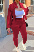 Wine Red High Quality Velvet Batwing Sleeve Zip Crop Tops Trousers Plain Color Sport Sets WY6844-4