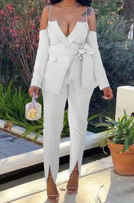 Rice White Women Cardigan Condole Belt Solid Color Sexy V Collar Split Pants Sets LD81043