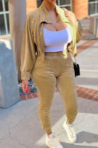 Brown High Quality Velvet Batwing Sleeve Zip Crop Tops Trousers Plain Color Sport Sets WY6844-1