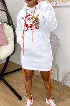 White New Christmas Patter Printing Long Sleeve Hem Split Bandage Dress WY66771-1