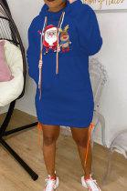 Blue New Christmas Patter Printing Long Sleeve Hem Split Bandage Dress WY66771-7