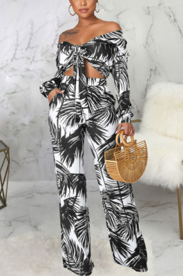 Black Sexy New Printing Long Sleeve Bandage Crop Tops Wlide Leg Pants Sets SMR10673-3