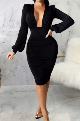 Black Fashion New Long Sleeve Deep V Neck Collect Waist Bodycon Dress SMR10587-1