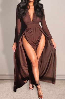 Coffee Euramerican Women Sexy Fashion Solid Color Deep V Collar Skinny Split Mid Waist Long Dress AGY68516