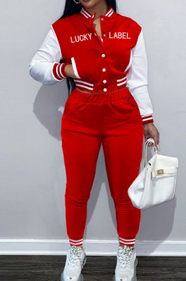 Red Casual Webbing Spliced Ribber Letter Printing Long Sleeve Cardigan Jacket Coat Trousers Baseball Uniform Sets SM9213-3